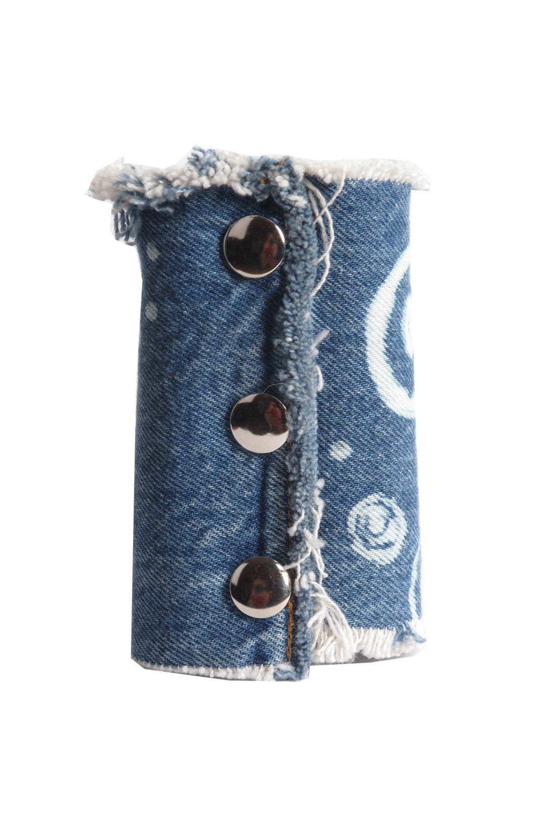 CIRCLE KEY WIDE DENIM CUFF- AVAILABLE FOR IMMEDIATE DELIVERY