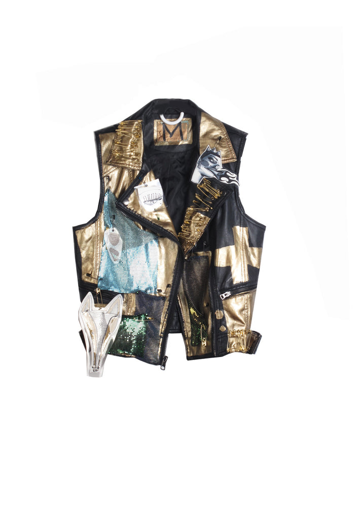 Jody MORLOCK Hand Painted 'Wink' Embellished Vest - AVAILABLE FOR IMMEDIATE DELIVERY SIZE M