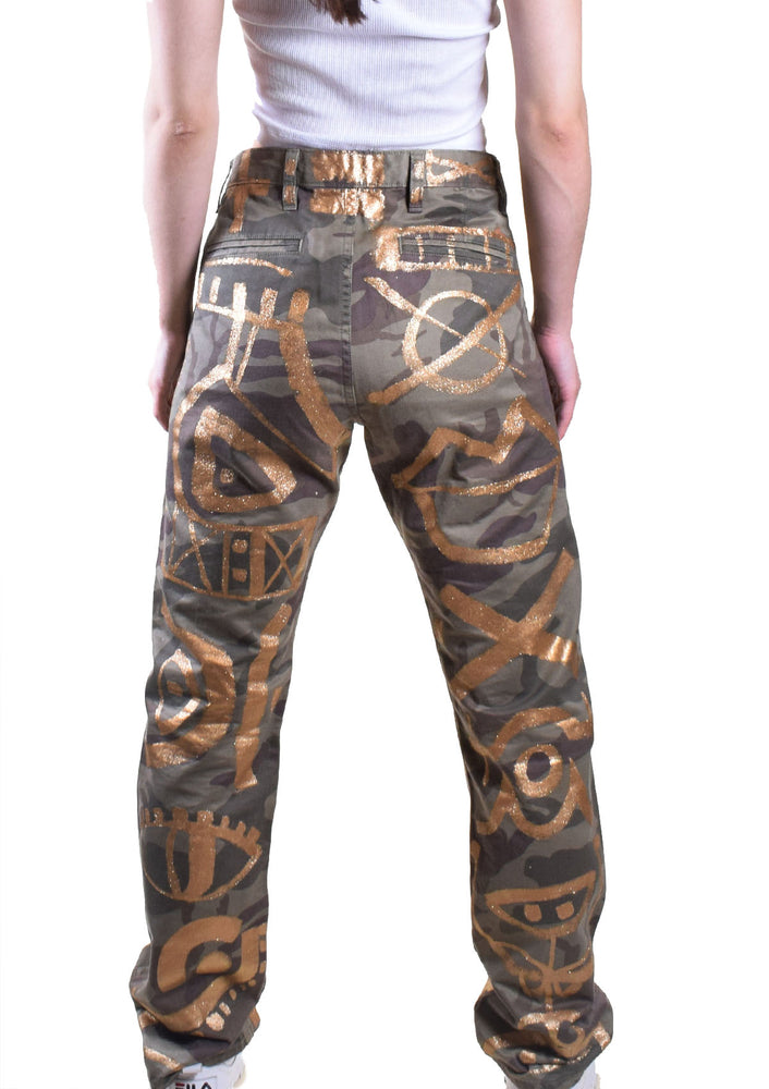 Men's Camo & Gold Painted Jeans