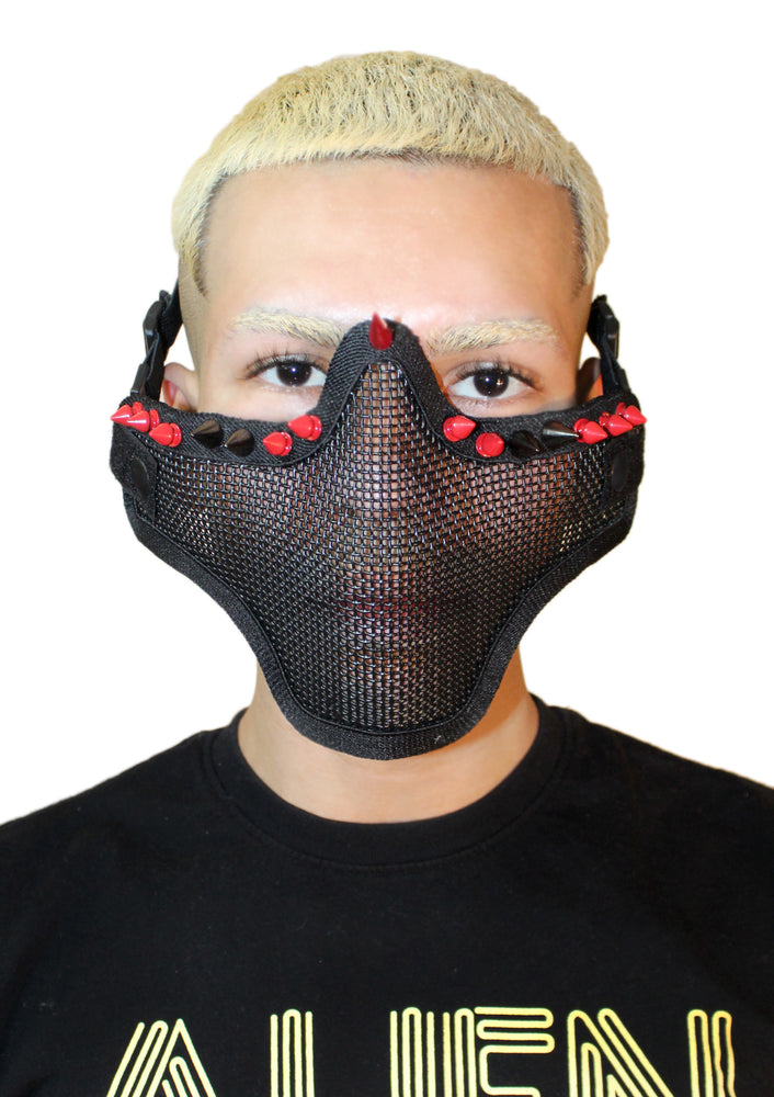 Red Spike Mesh Face Guard