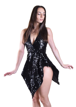 Queen B Sequin Halter Dress