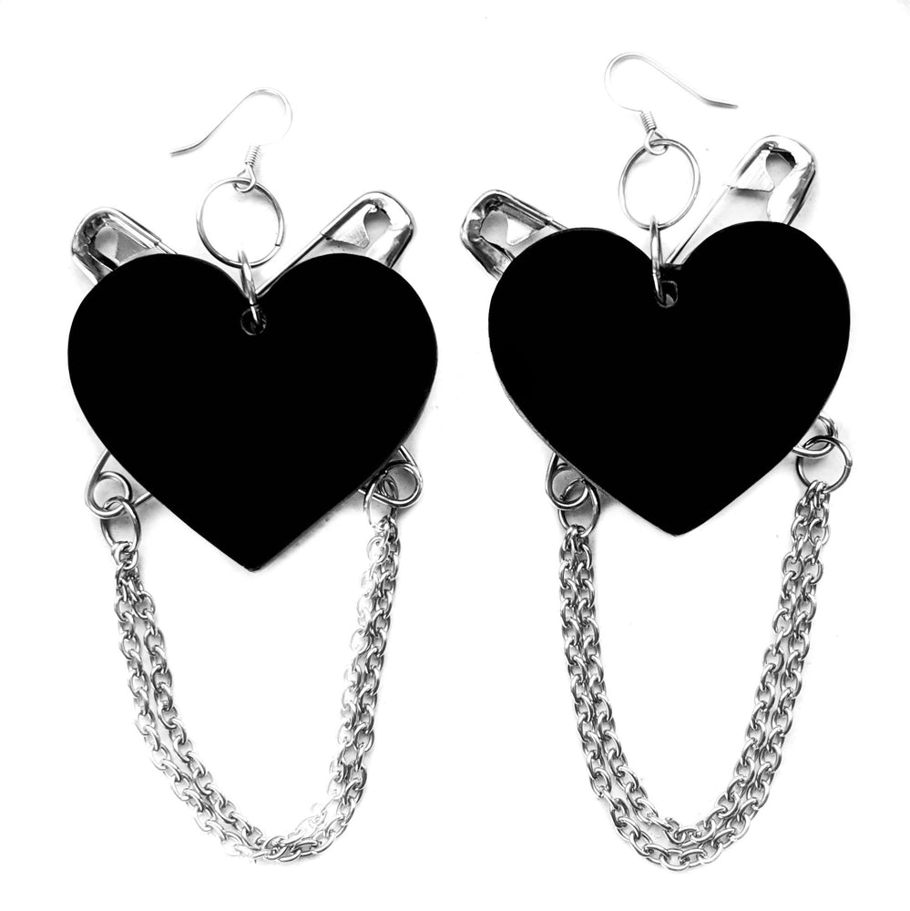 Punk at Heart Earrings - Black/Silver