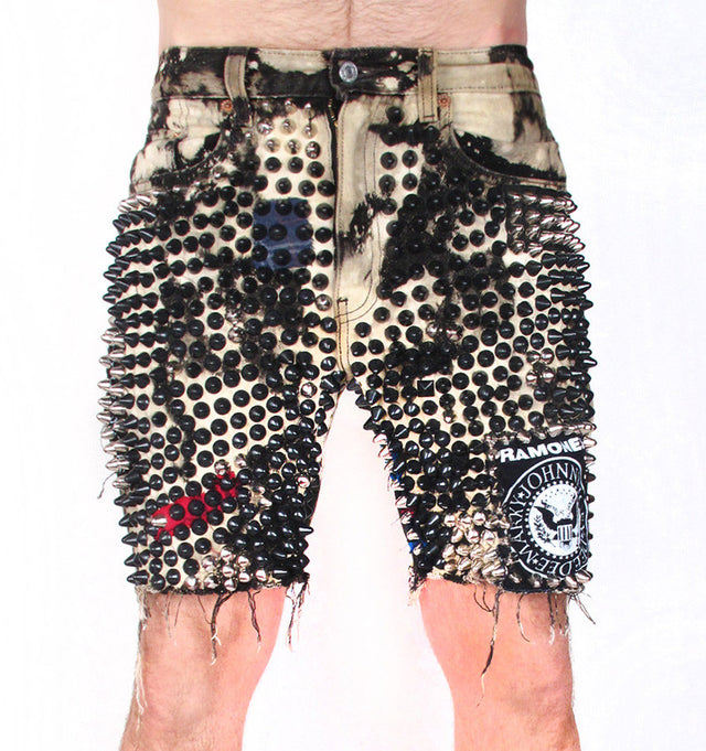 Acid Grunge Denim Shorts - AVAILABLE FOR IMMEDIATE DELIVERY SIZE 30
