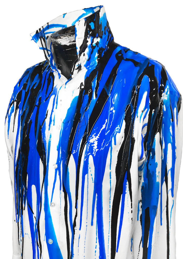 Men's Liquid Silicone Drip Button Down - White / Blue / Black
