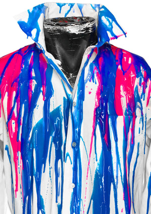 Men's Liquid Silicone Drip Button Down - White / Blue / Pink