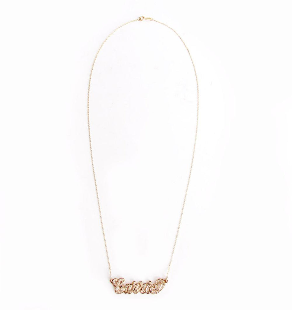 Custom Nameplate Diamond Necklace 14K Gold