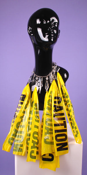 Caution Crystal Chandelier Necklace