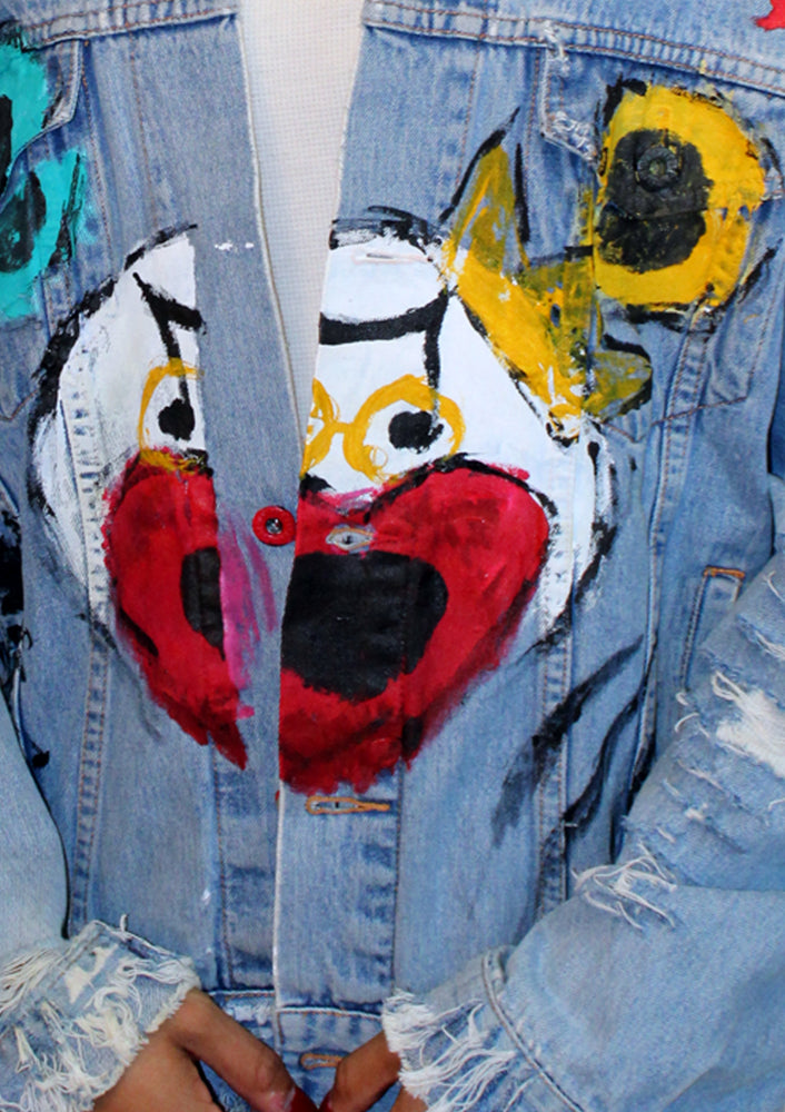 Distressed Teddy Denim Jacket
