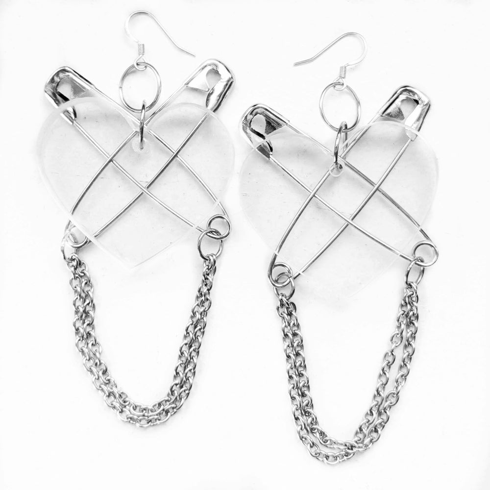 Punk at Heart Earrings - Clear/Silver