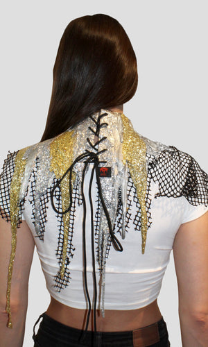 Gold and Silver Glitter Drip Netted Collar