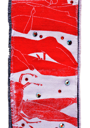 Greek Vacation Denim Cuff - Red
