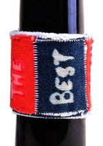"Phrase Patch Denim Cuff ""BEST"""