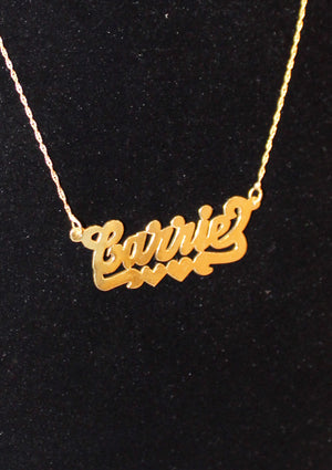 Carrie 2.0 Gold Plated Custom Nameplate Necklace