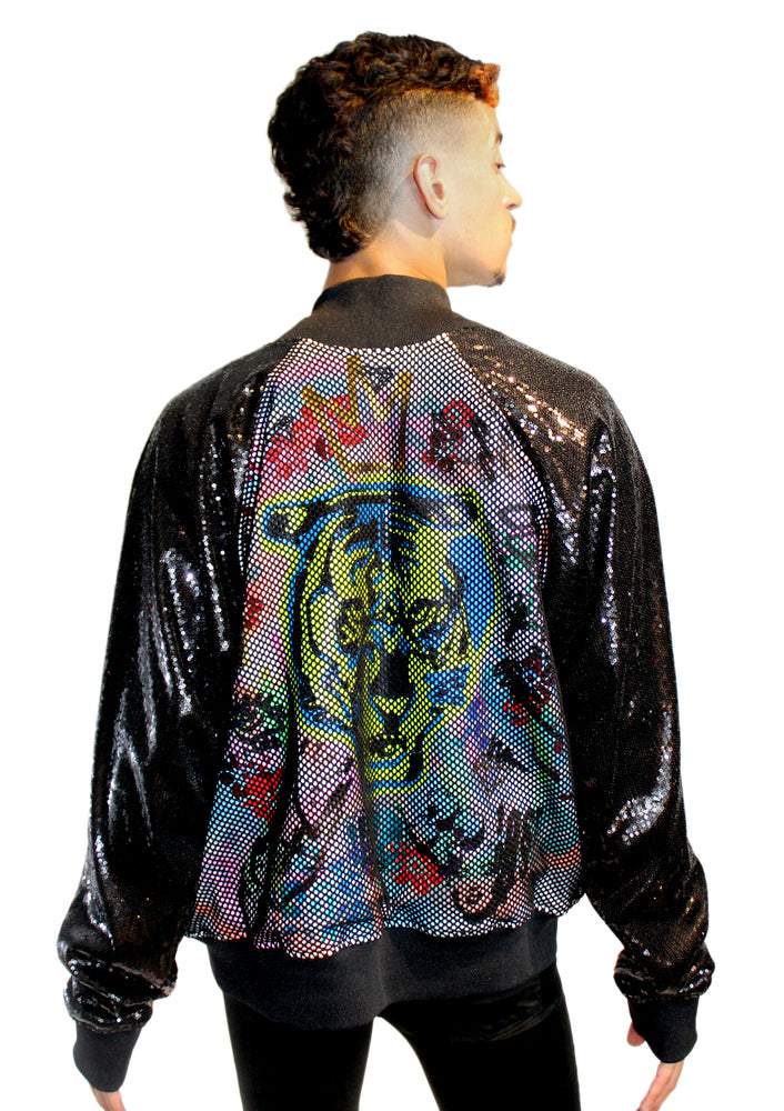 Graffiti Sequin Sleeve Track Jacket