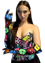 Multi color Lips Black Gloves
