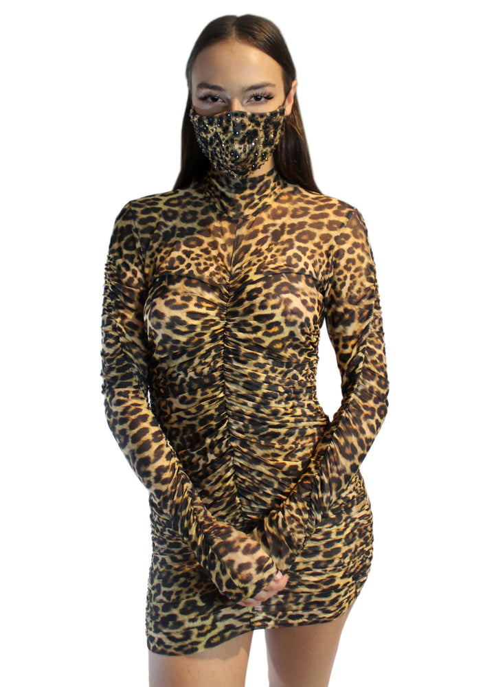Sheer Leopard Rouched Dress