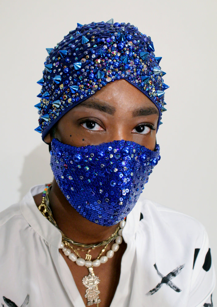 Stone Blue Sequin Face Mask