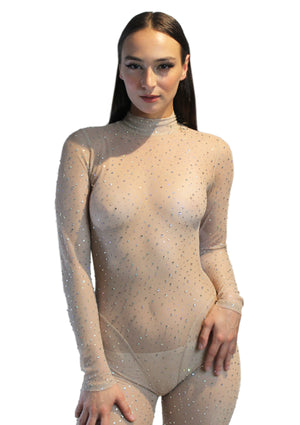 Nude Crystal Mesh Catsuit