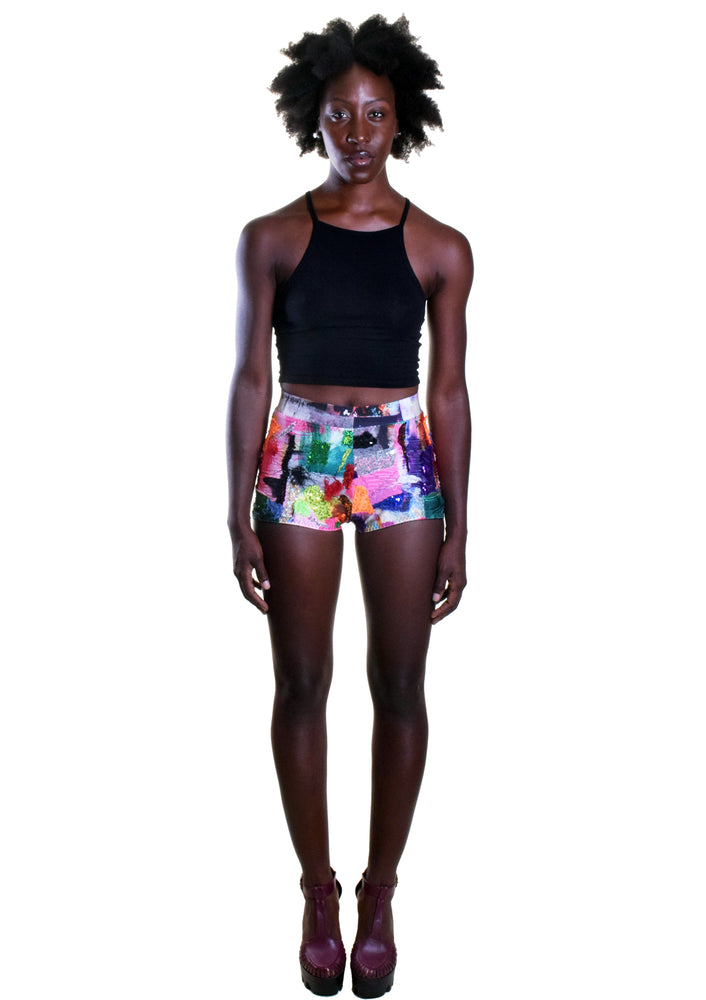 Patchwork Sequin High Waist Shorts