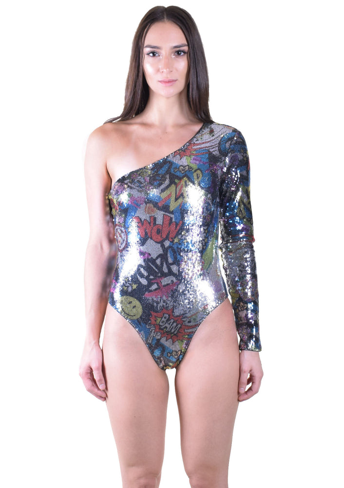 Comic book Sequin One Shoulder Bodysuit