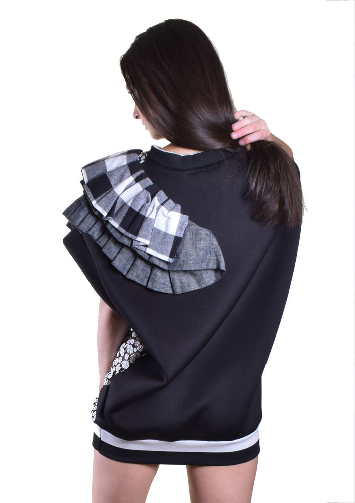 DOPE Mixed Media Ruffle Top - Black & White