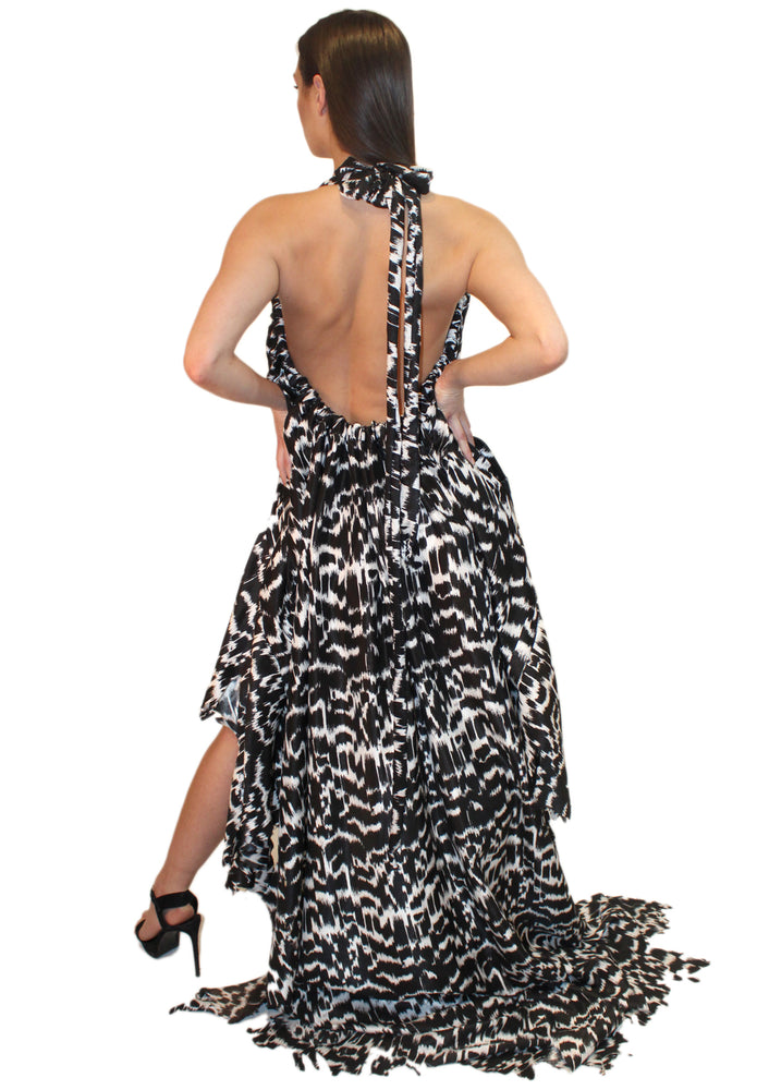 DOPE Spotted Backless Halter Dress