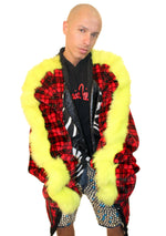 DOPE Plaid x Fur Long Cardigan