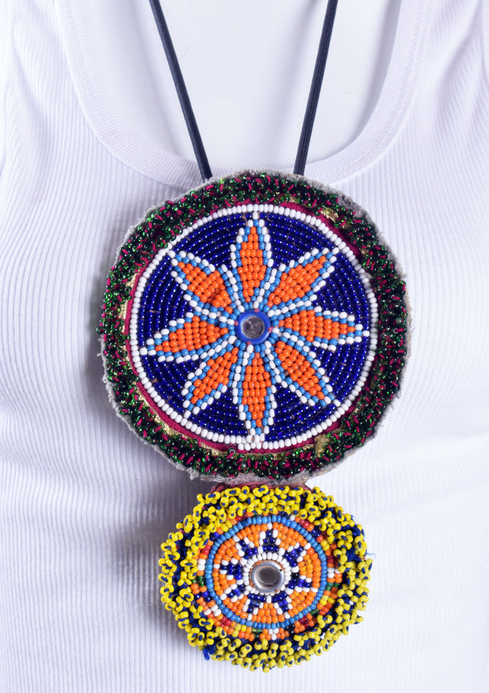 Large and Small Beaded Disk Necklace