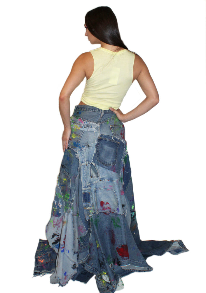 DOPE Painted Jean Skirt