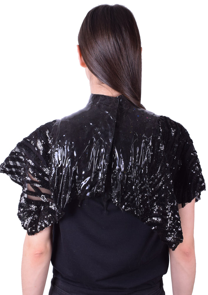 Glitter Whore Drip Collar - Black/ Sequin Fabric