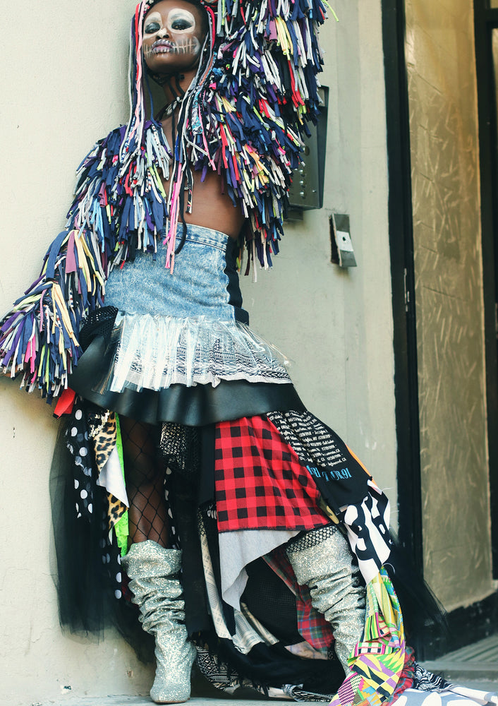 DOPE Mixed Media Ruffle Skirt