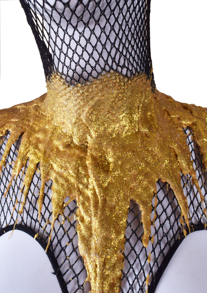 Drippy Gold Metallic Fishnet Bodysuit w/ Front Hood