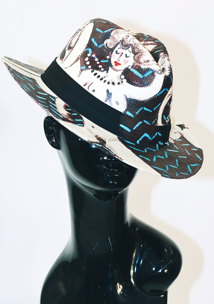 'Clutch My Pearls' Painted Fedora