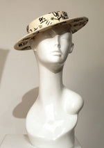 Cream Felt Boater Hat