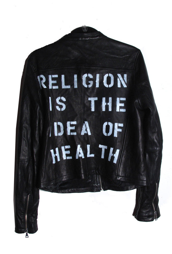 Suzanne Mallouk 'Religion is the Idea of Health' Genuine Leather Jacket - IMMEDIATE DELIVERY SIZE L