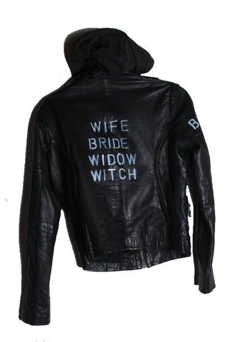 Suzanne Mallouk 'Wife Bride Widow Witch' Genuine Leather Jacket - IMMEDIATE DELIVERY