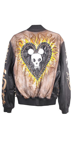 Jody Morlock X StudMuffin NYC 'Flaming Mickey Heart' Leather Bomber Jacket