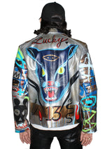 'Lucky 13' Leather Moto Jacket