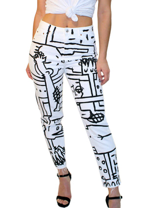 Abstract Painted White Jeans