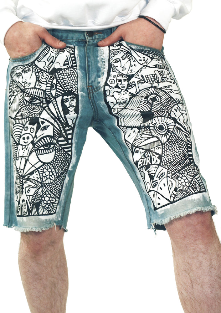 Animal Farm Artwork Denim Shorts