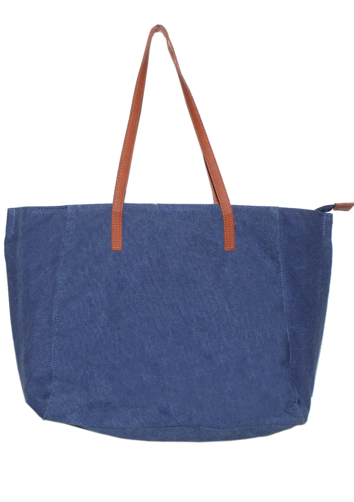 Canvas & Leather Zip Tote Bag