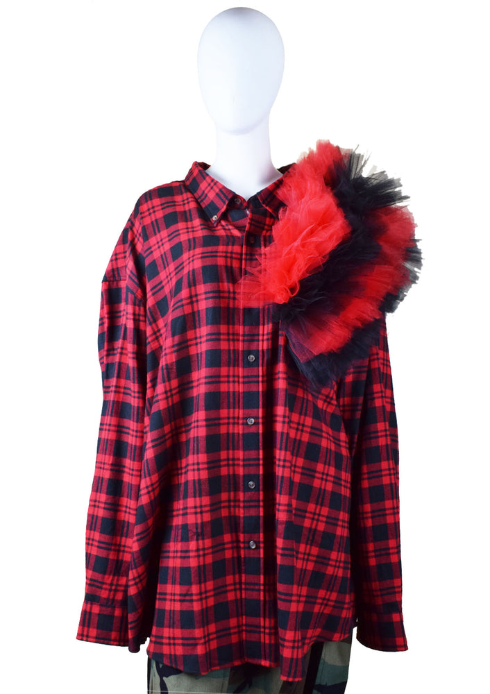 DOPE Oversized Tulle Ruffle Flannel