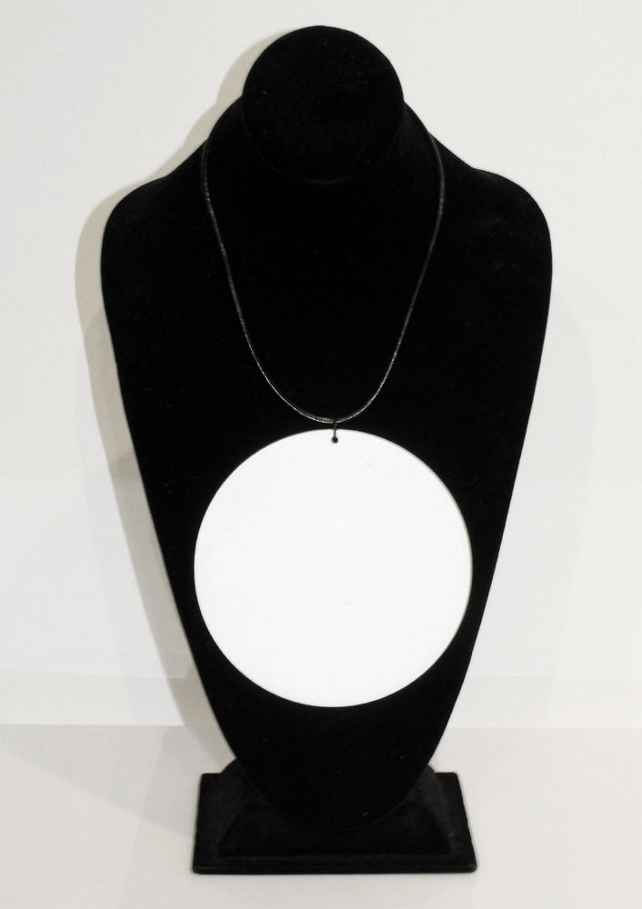 White Disc Pendant Necklace