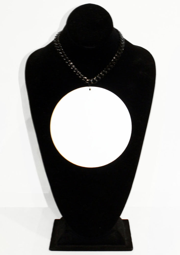 White Disc & Chain Pendant Necklace