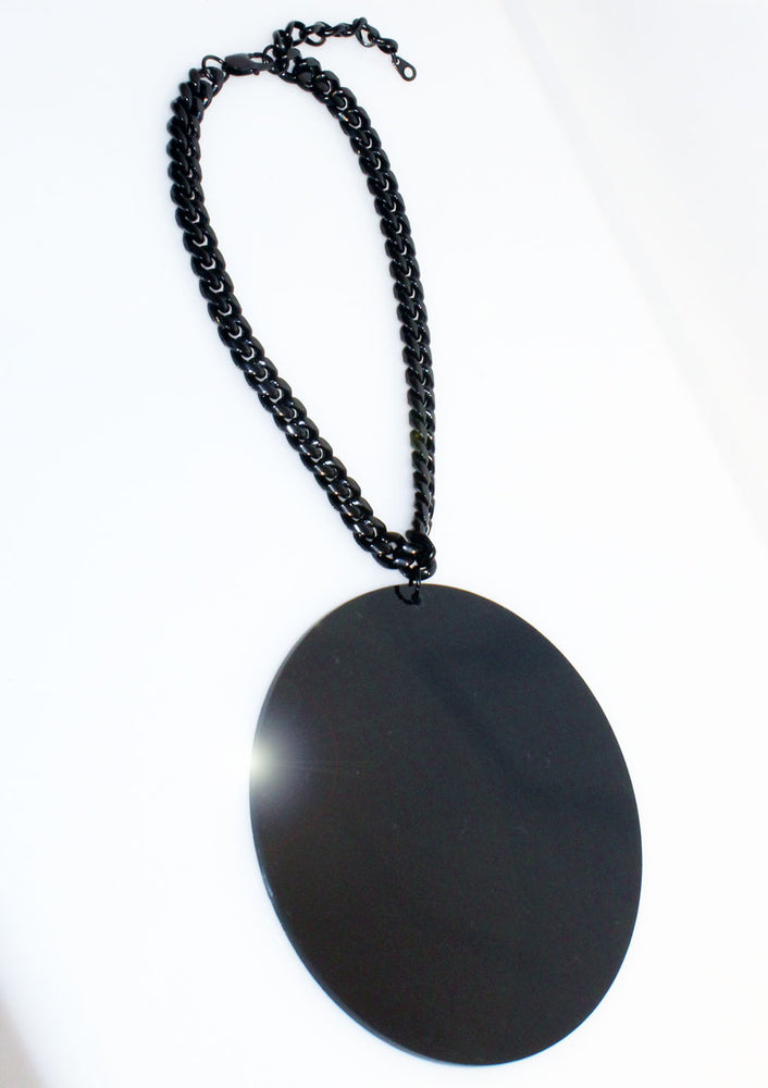 Black Disc & Chain Pendant Necklace