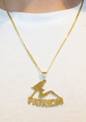 Mudflap Girl Modern Name Necklace - Gold Plated