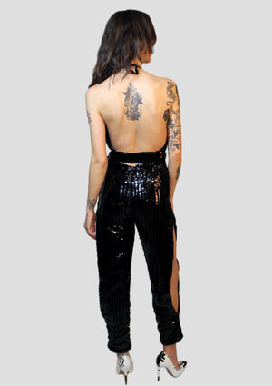 Queen B Sequin Halter Jumpsuit