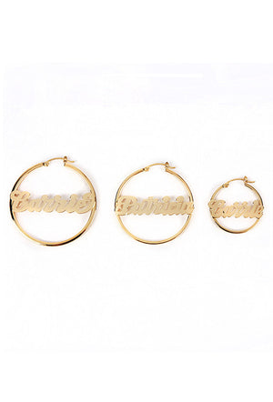 Custom Nameplate Hoops 14K Gold