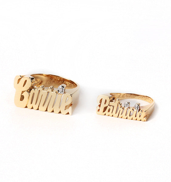 Custom Nameplate Ring 14K Gold