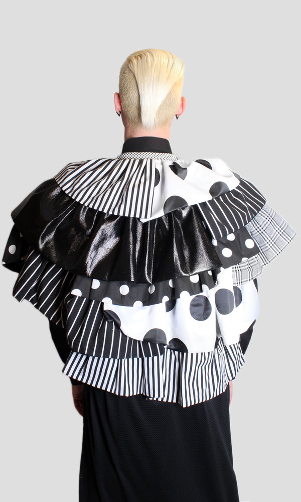 DOPE Mixed Ruffle Jacket in Black/White